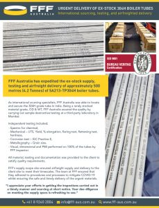 thumbnail of FFF Australia – Urgent delivery of ex-stock 304H boiler tubes